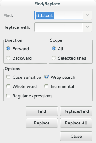 Find/Replace dialog