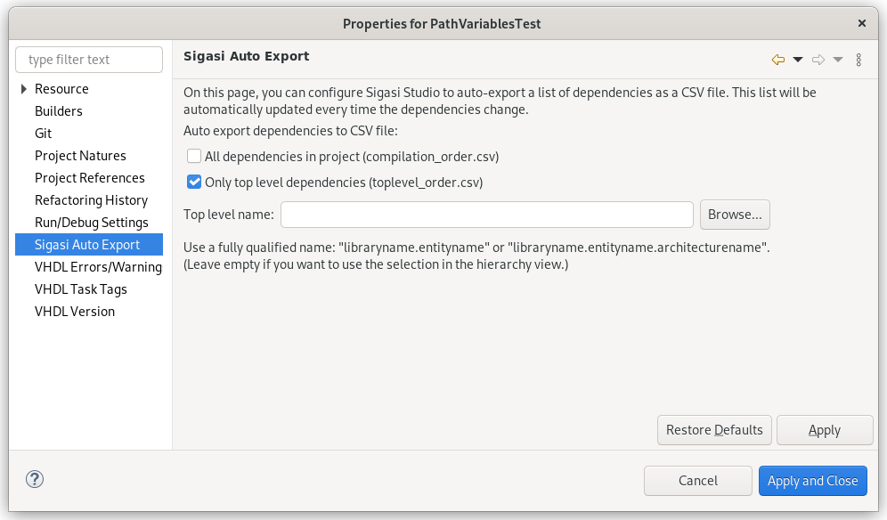 Auto export CSV file with dependencies