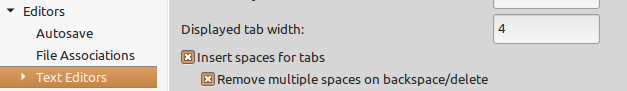 Configure Spaces or Tabs