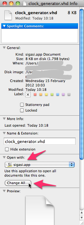 Setting the default application for VHDL files
