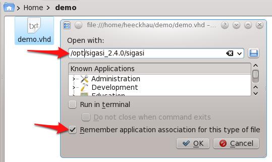 Sigasi Studio as default editor in KDE