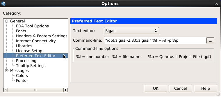Configuring Sigasi Studio as default VHDL editor in Altera Quartus