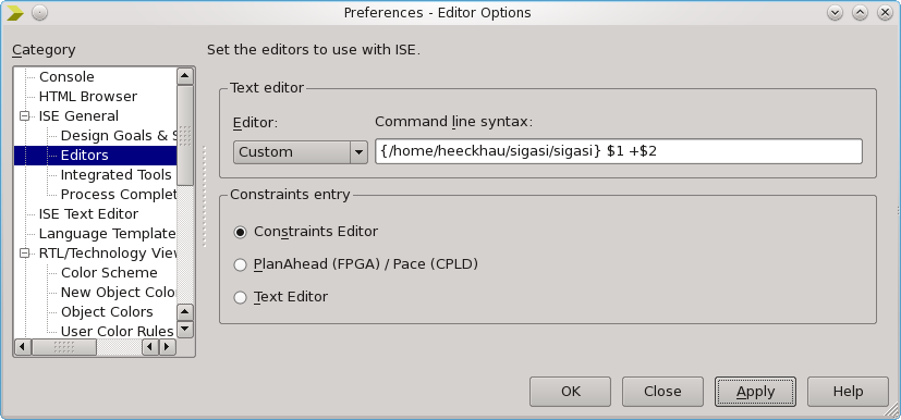 Configuring Sigasi Studio as default VHDL editor in Xilinx ISE