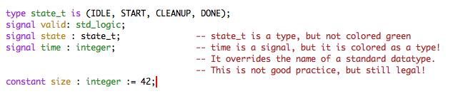 Emacs VHDL mode Mimics Semantic Highliging