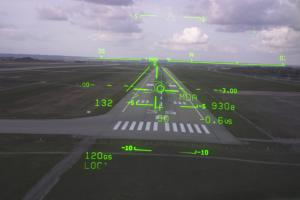 Head-Up Display of a commercial airplane landing
