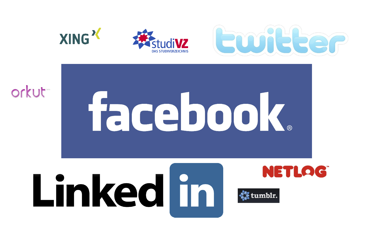 Popular Social Networks (size indicates importance)