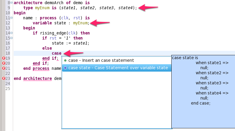 Context sensitive autocomplete for case statements