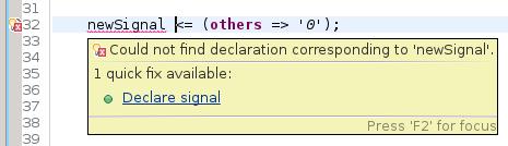 declare signal quickfix