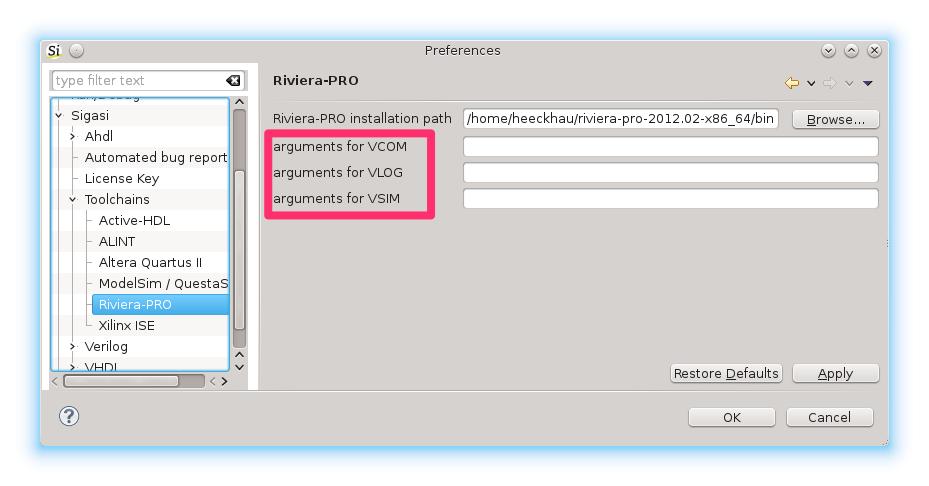 Configure extra command line options