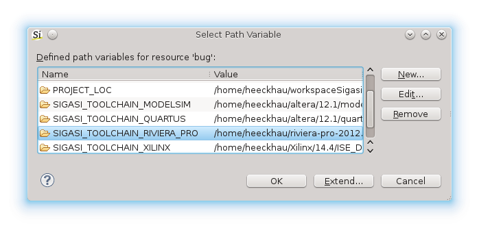 Path variables for toolchains and environment variables