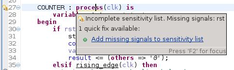 Quick Fix Incomplete Sensitivity List