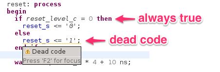 Detect dead code blocks in if statements