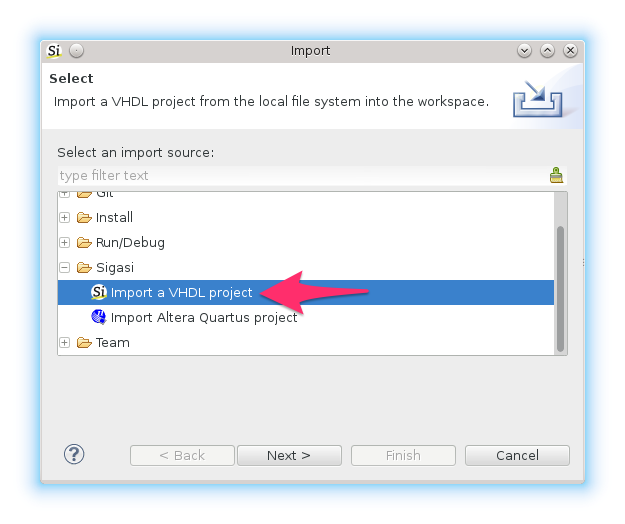 VHDL project Import Wizard