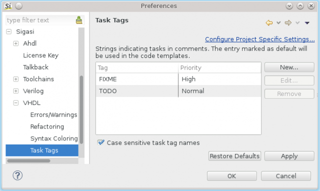 Configurable Task Tags in comments