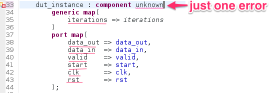 Only one error marker in unknown component instantiations