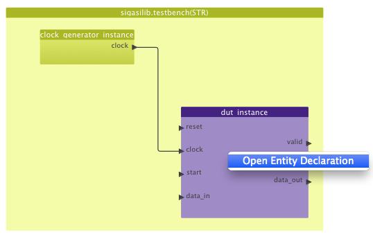 Open entity declaration in block diagram