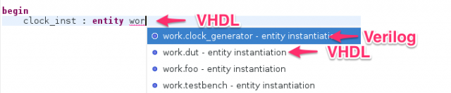 Autocomplete Verilog modules in VHDL instantiations