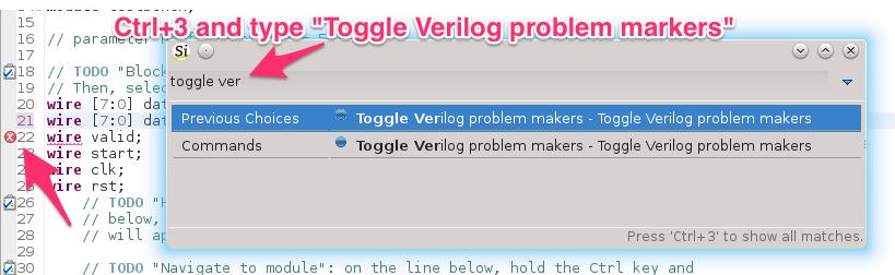 Toggle Verilog Markers