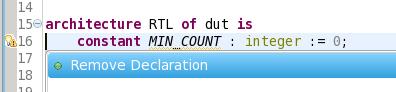 Unused declaration (with QuickFix)