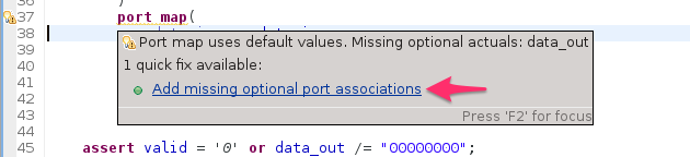 Quickfix missing associations in generic and port maps