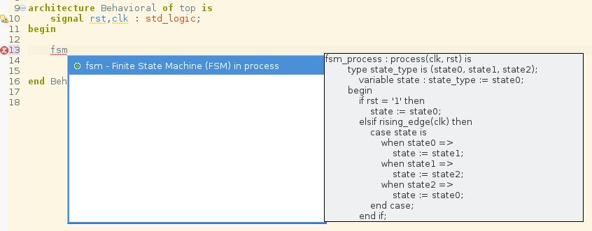 Autcomplete template for Finite State Machines