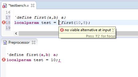 Show errors in the Preprocessor View