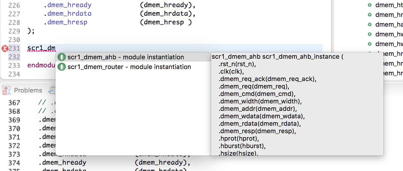 Use autocomplete to instantiate any module