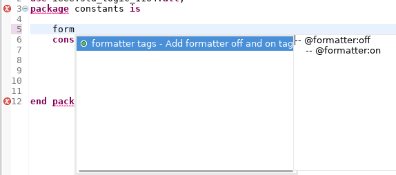 formatter tags autocomplete