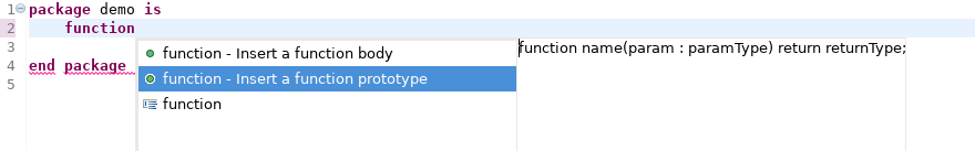 Function prototype autocomplete template