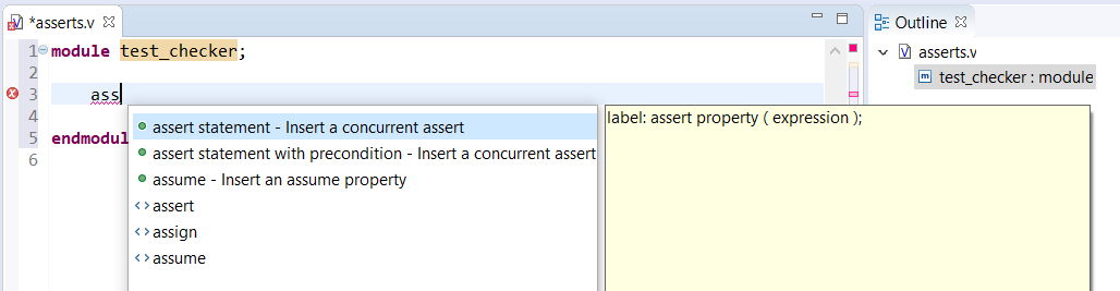Autocomplete templates for SystemVerilog assertions