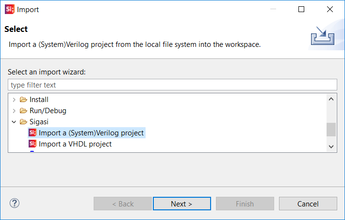 Import wizard for existing SystemVerilog projects