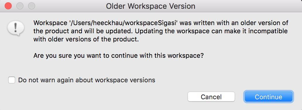 Workspace update warning