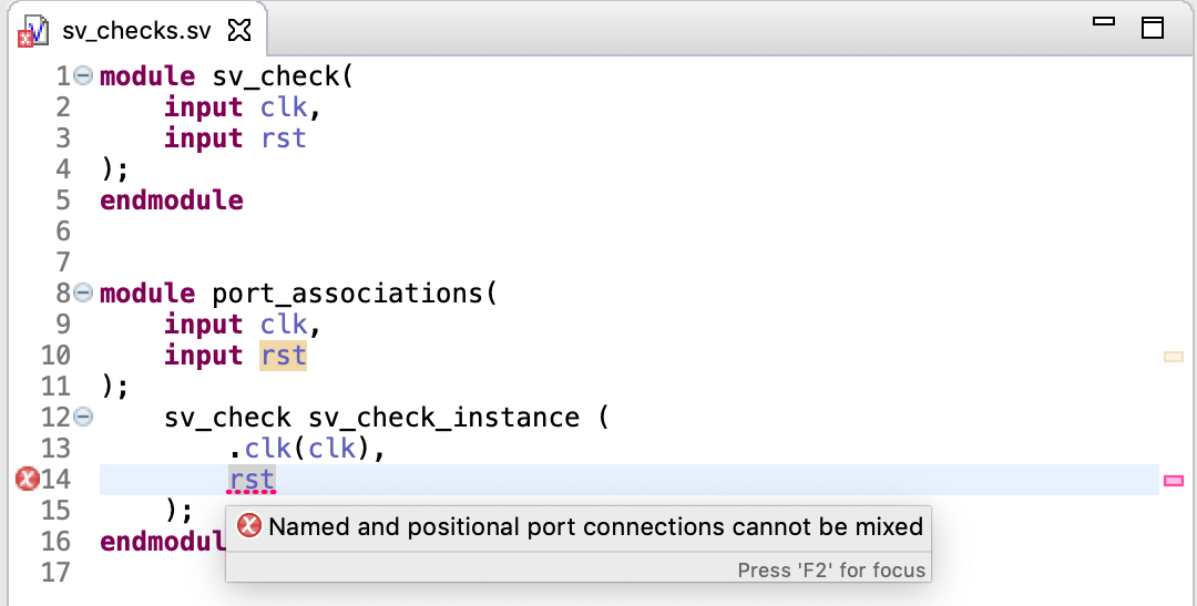 Check for mixed positional and named port connections in instantiations
