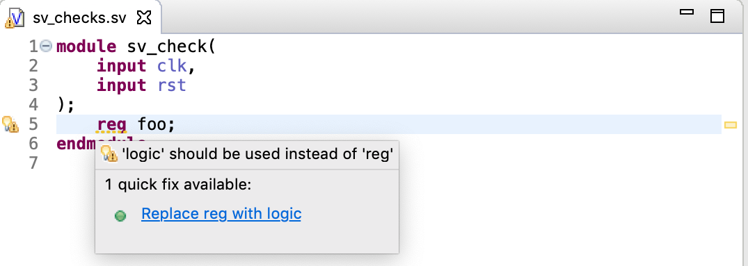 Warn for usage of `reg` instead of `logic` (with QuickFix)