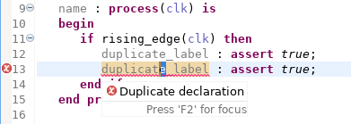 Check for duplicate labels in sequential statements