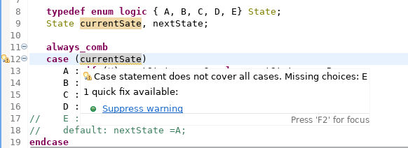 Check for missing case items in SystemVerilog case statements