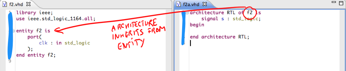 Entity and architecture in two files