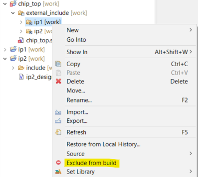 Exclude linked folder from build