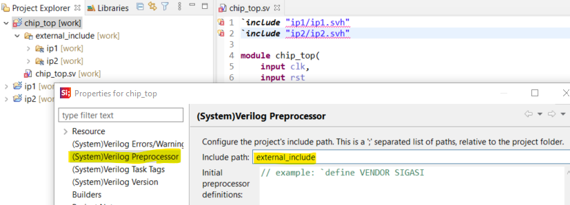Set include path in project preferences