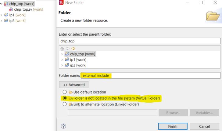 Virtual folder for external includes