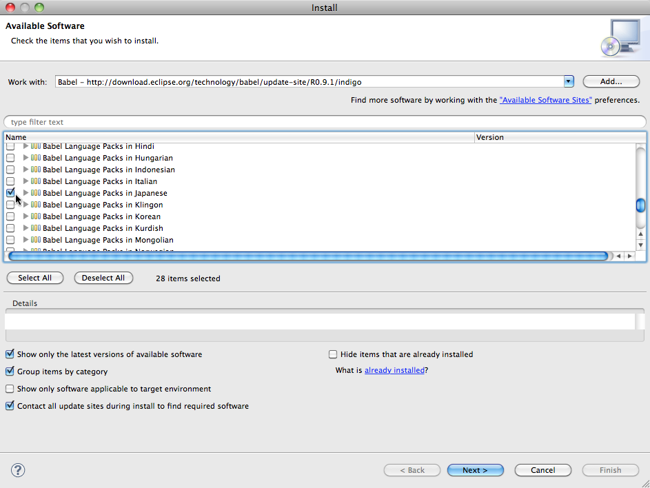 Installing the Japanese language pack in Eclipse