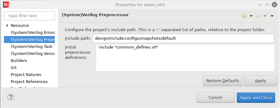 Preprocessor definitions