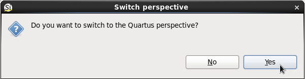 Switch to Quartus perspective