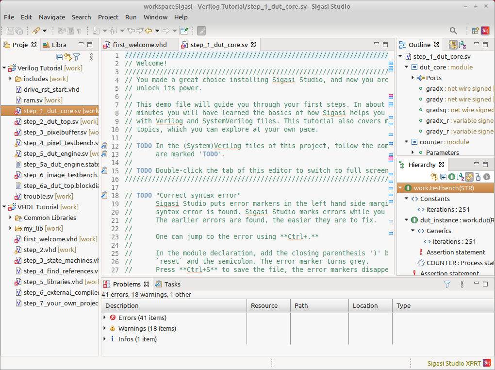 A new workspace showing two tutorial projects